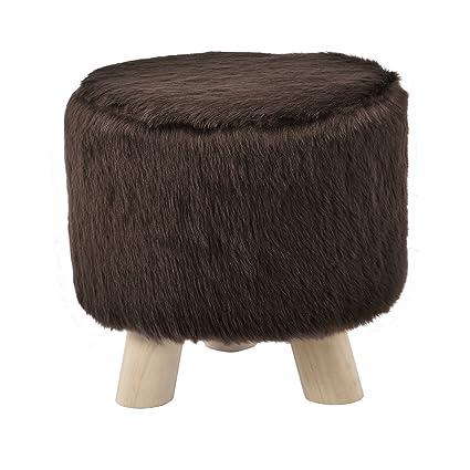 en.casa] Taburete redondo puff elegante asiento tapizado imitación ...