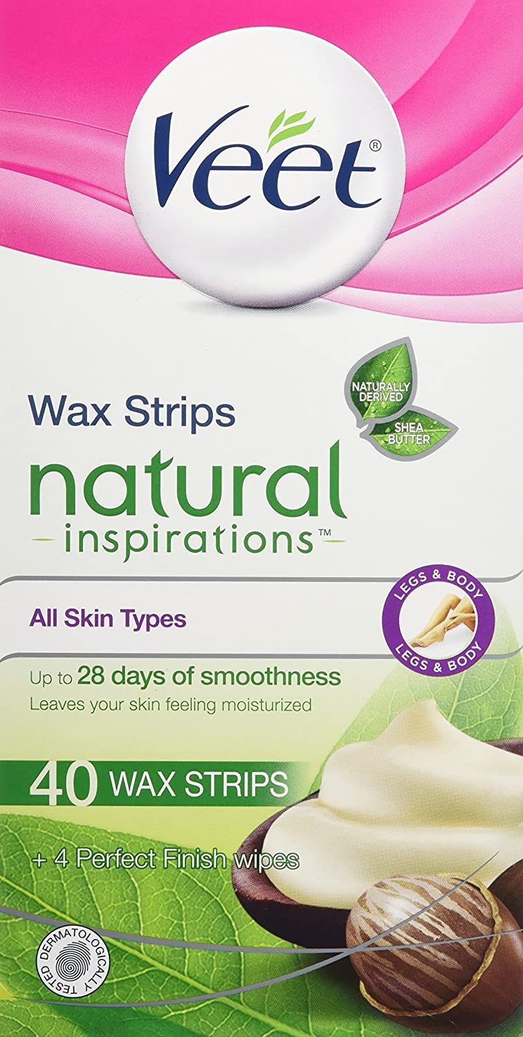 Veet Natural Inspirations, Hair Removal, Precision Wax Strips with Shea Butter, All Skin Types, Legs & Body, 40 Count