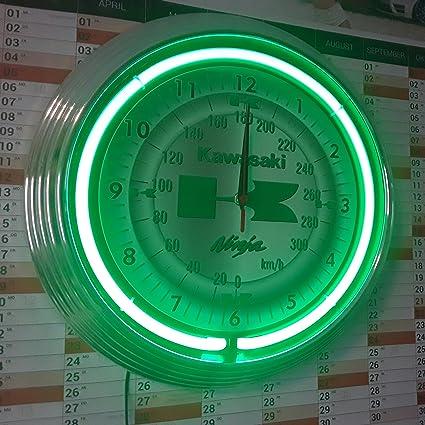 Neon reloj Kawasaki Ninja – Reloj pared iluminado con Neon verdes