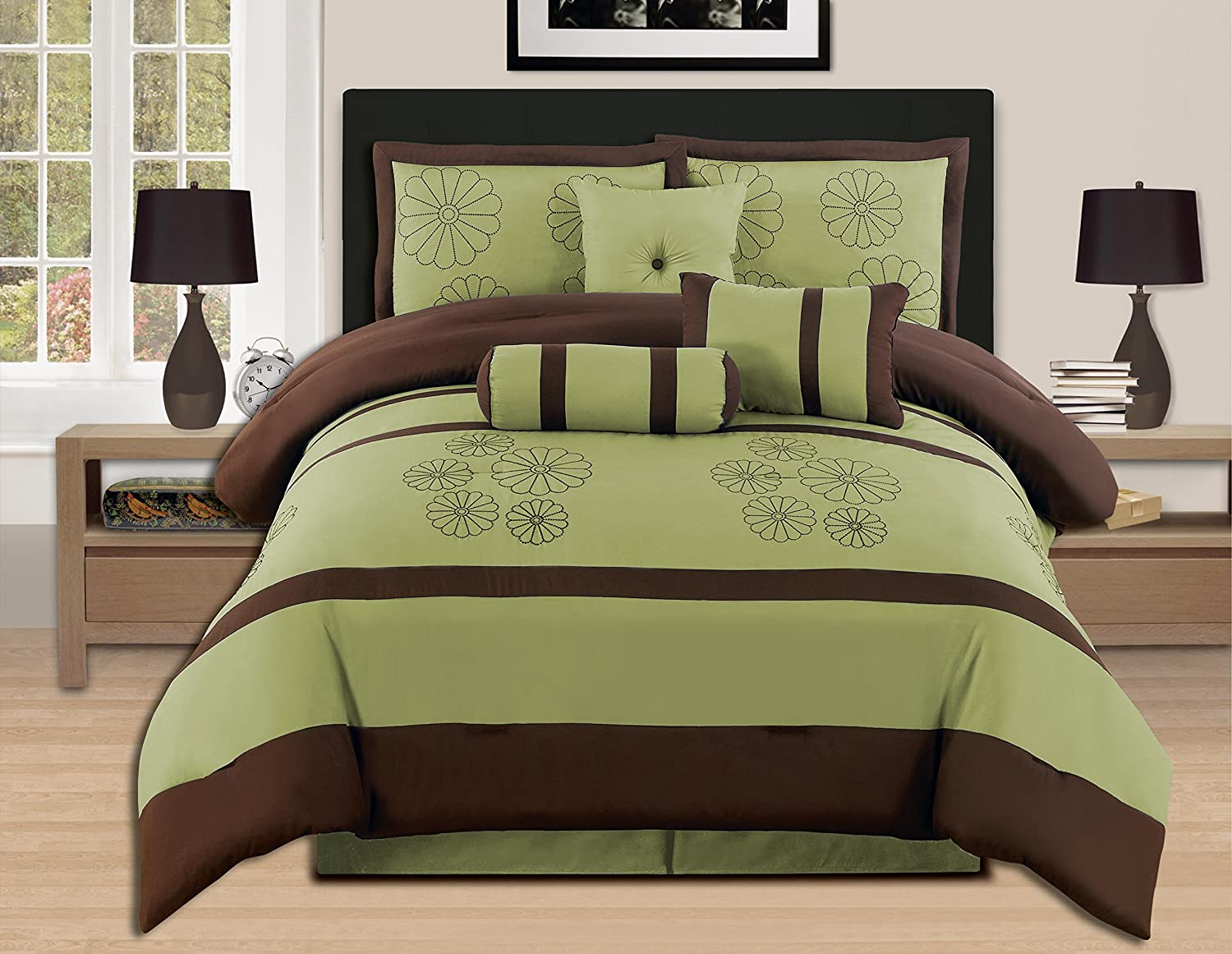 Amazon Com 7 Pieces Luxury Embroidery King Sage Brown Comforter