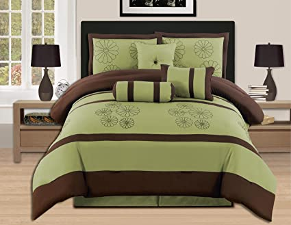 Amazoncom 7 Pieces Luxury Embroidery King Sage Brown Comforter Set