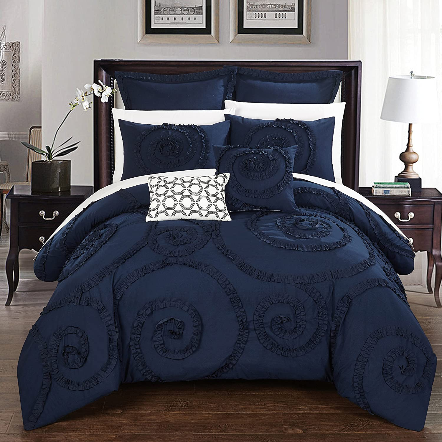 Chic Home 7 Piece Rosalia Floral Ruffled Etched Embroidery Queen Comforter Set Navy