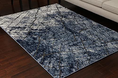 Miami Textured 3-D Carved Double Point High Density Thick Collection Oriental Carpet Area Rug Rugs Silver Grey Blue 5071 Anthracite 9×12 9'1×12'5
