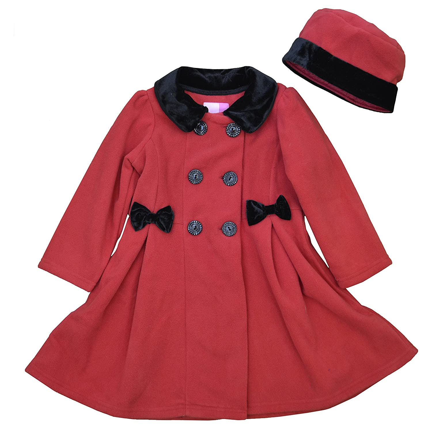 Good Lad double breasted velvet trimmed fleece coat and matching hat 16450XF3-PARENT