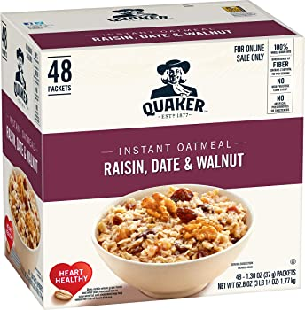 48 Count Quaker Quaker Instant Oatmeal Raisin, Date, Walnut