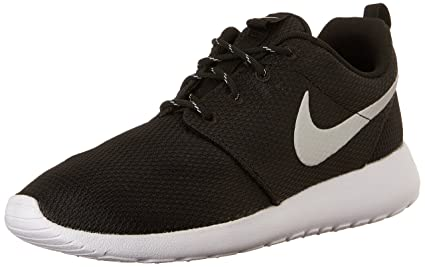 991a1a772715 Nike Womens Roshe One Running Shoe Black Metallic Platinum White (8.5)