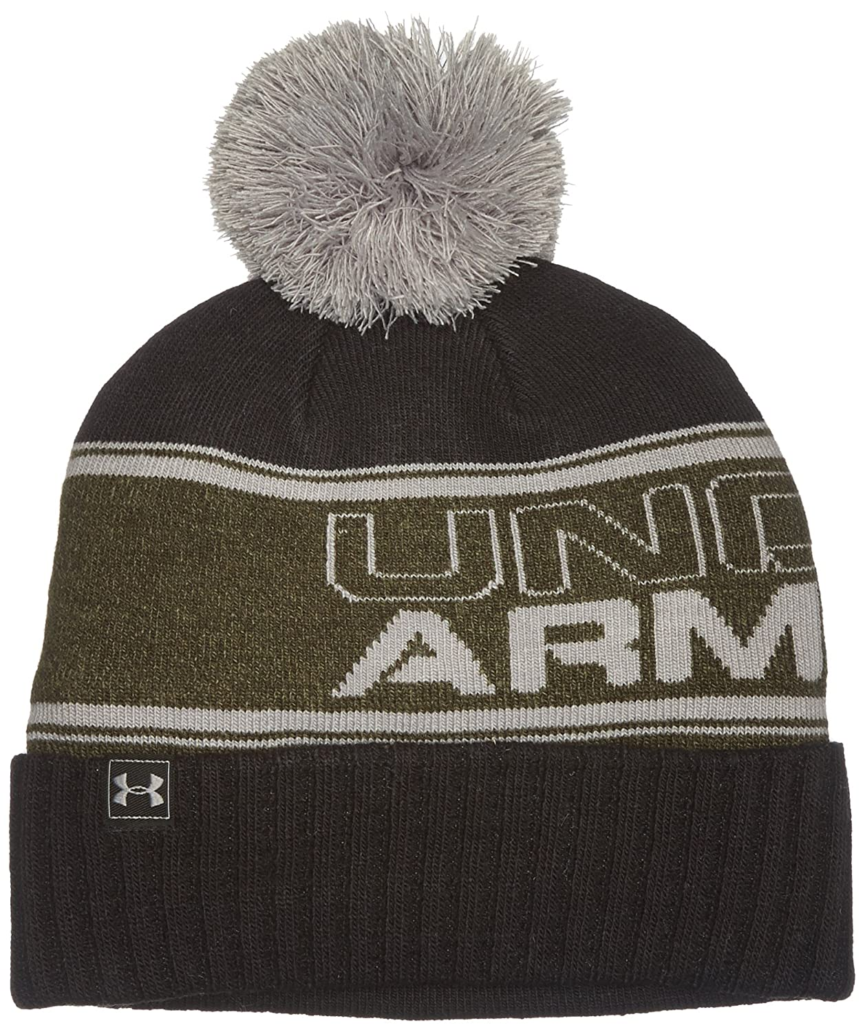 Under Armour Men's UA Pom Beanie, Berretto Uomo, Grigio (Stealth Gray/Steel/Hyper Green 008), Taglia Unica 1283110