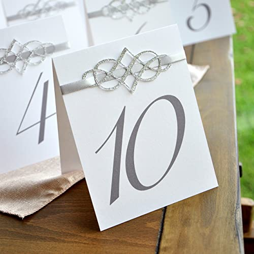 amazon com table numbers 1 10 table number tents silver table
