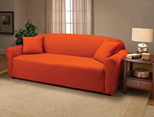 Madison Stretch Jersey Tangerine Sofa Slipcover, Solid