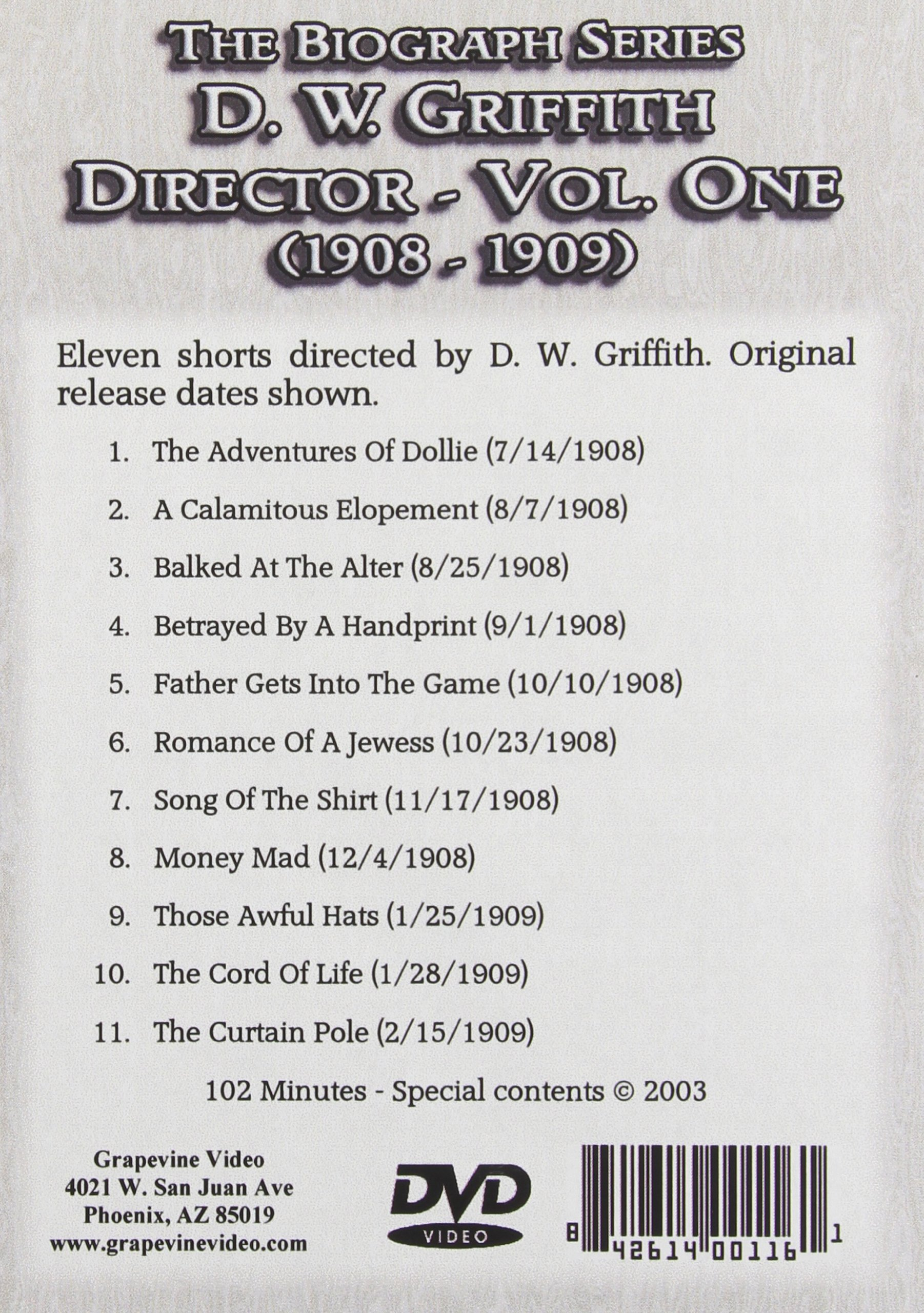 D.W. Griffith: Director: Volume 1 by Grapevine Video