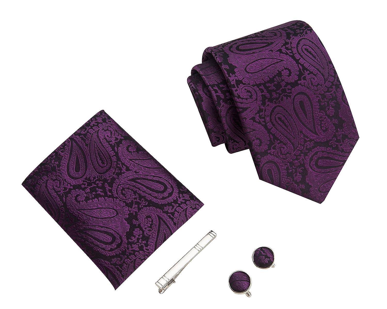 996a083a273d Paisley Men's tie, Handkerchief, stickpin and Cufflinks premium tie set  gift box (Purple): Amazon.co.uk: Clothing