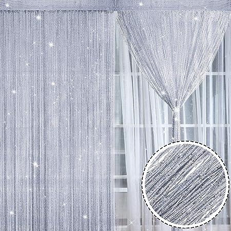 2 Piezas de Panel de Cortina de Hilos Brillantes Cortina de Algodón Cortinas de mosquitera para Puertas y Ventanas, 100 x 200 cm (Morado) (Plateado): Amazon.es: Hogar