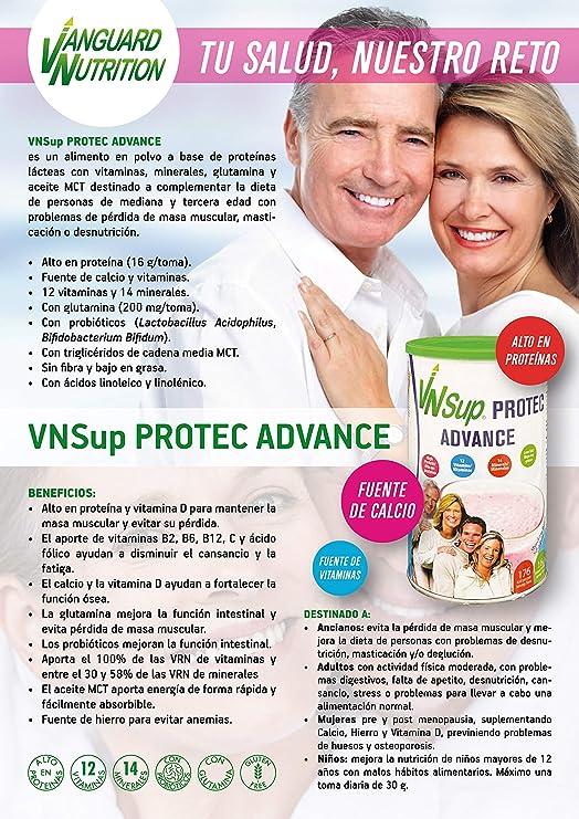 VNSup - Protec Advance   Suplemento Alimentario Batido de Proteínas Lácteas con Vitaminas Minerales Probioticos Glutamina y Aceite MCT, Sabor Vainilla