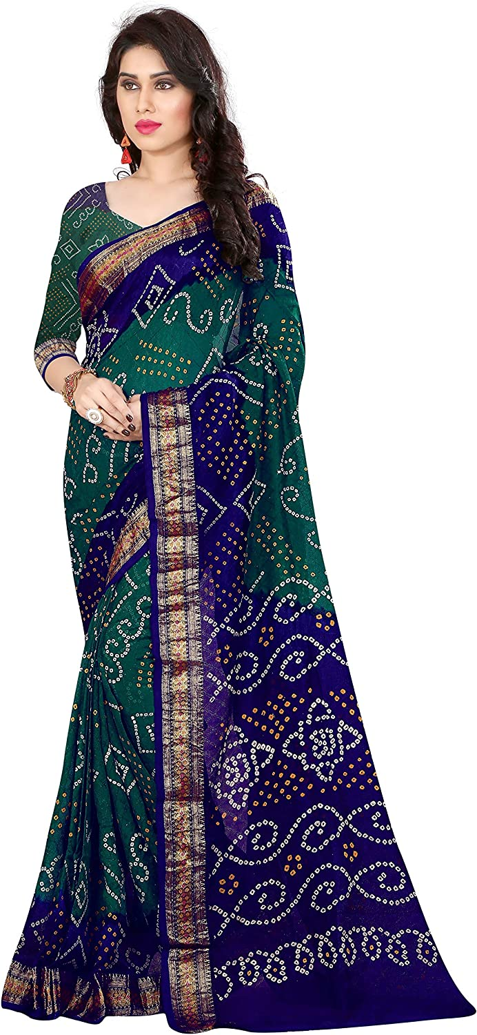 Divine International Trading Co Women's Art Silk Printed Tie And Dye Bandhani Sarees With Blouse Piece Fabric