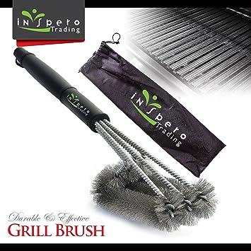 Amazoncom BBQ Grill Brush Inspero Triple Brush Barbeque Grill