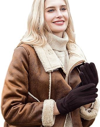Femme Peau De Mouton Bleu Marine Cuir Gants cachemire laine doublée pour hiver
