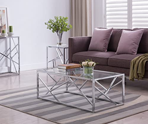 Chrome Finish/Glass Top Cocktail Coffee Table