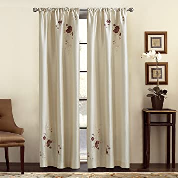 CHF U0026 You Alesandra Floral Embroidered Faux Silk Window Curtain Panel, Ivory,  44
