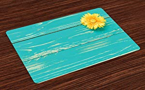 Ambesonne Rustic Place Mats Set of 4, Flower on Vintage Wooden Backplane Floral Beauty Redolence Springtime Nature, Washable Fabric Placemats for Dining Room Kitchen Table Decor, Turquoise Yellow