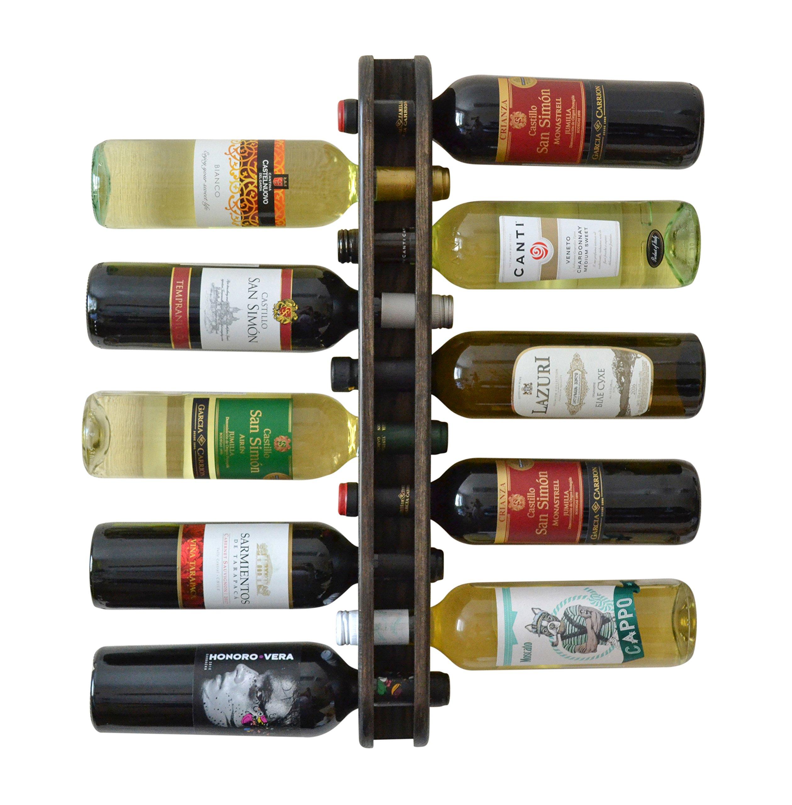 MyFancyCraft Handmade Wood Wine Rack Natural Pine Decor 10 Bottle Double Holder Organizer Wall Mounted