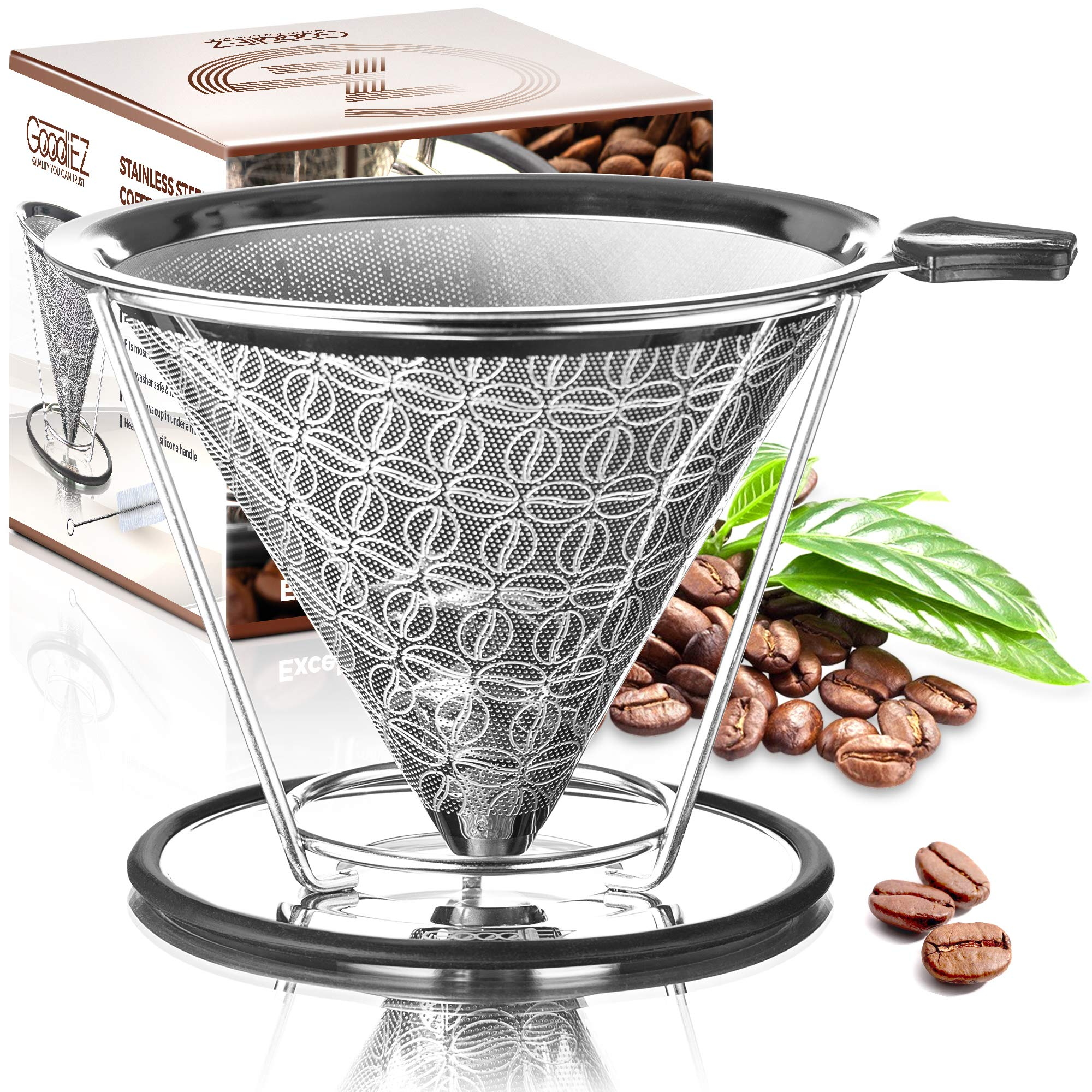 Goodiez Coffee Pour over Coffee Maker-Pour over Coffee Dripper Kit-Reusable Pour over Coffee Filter-Stainless Steel Coffee Filter Mesh-Metal Drip Coffee Cone Brewer Pourover for Chemex Hario V60 by GoodiEZ