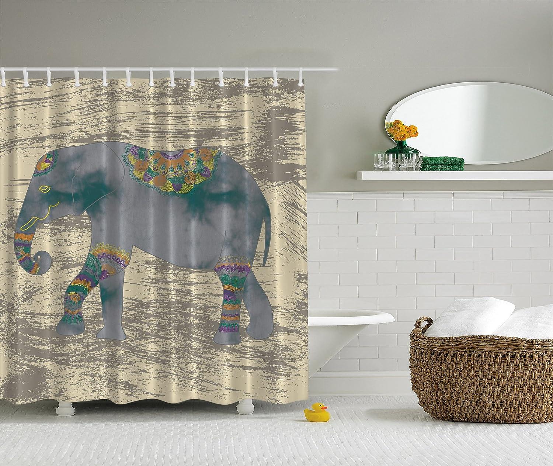 amazoncom elephant shower curtain animals decor boho by ambesonne ethnic indian bohemian hippie grunge design theme accessories fabric for bath set
