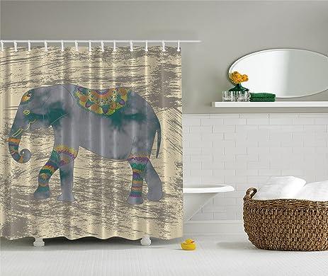 Elephant Shower Curtain Animals Decor Boho By Ambesonne, Ethnic Indian  Bohemian Hippie Grunge Design Theme
