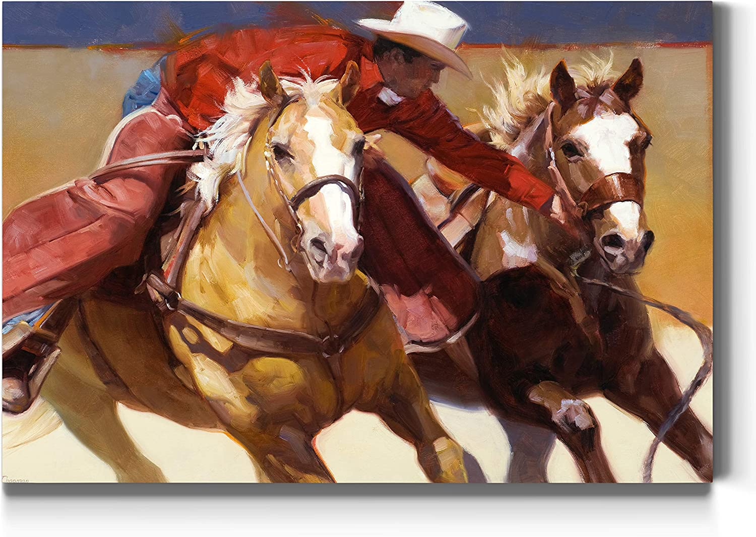 Renditions Gallery Nabbed Wall Art, Rodeo Artwork, Western Americana, Red Cowboy and two Horses, Broncos, Premium Gallery Wrapped Canvas Decor, Ready to Hang, 18 In H x 27 In W, Made in America Print