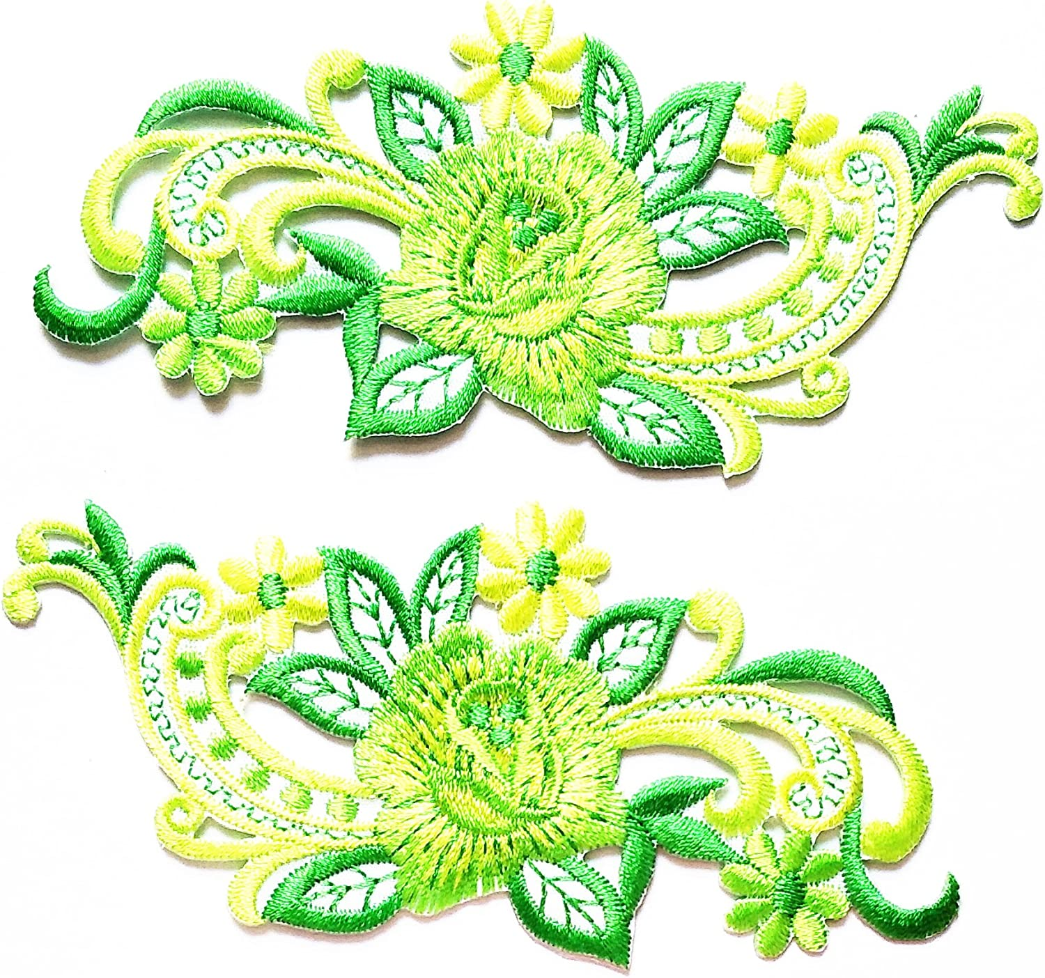 Pair of Flower Embroidered Patches Iron Sew On Embroidery Patch ...