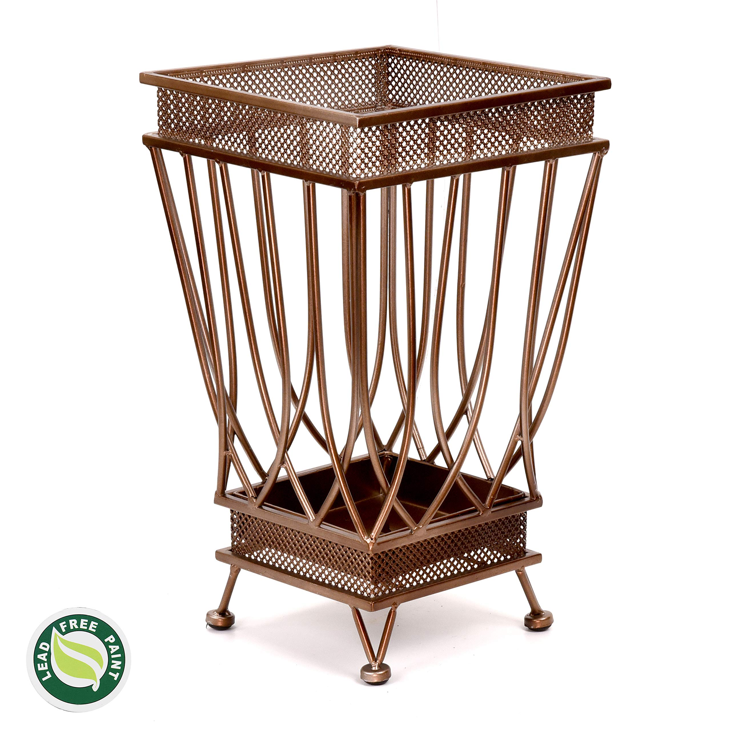 Dualplex Super Quality Umbrella Stand, Umbrella Holder, Antique Look Metal, Entry Hallway Décor, Square Style, w/Removable Drip Tray. Home, Office Decoration Rack Holds Umbrellas Canes Walking Sticks