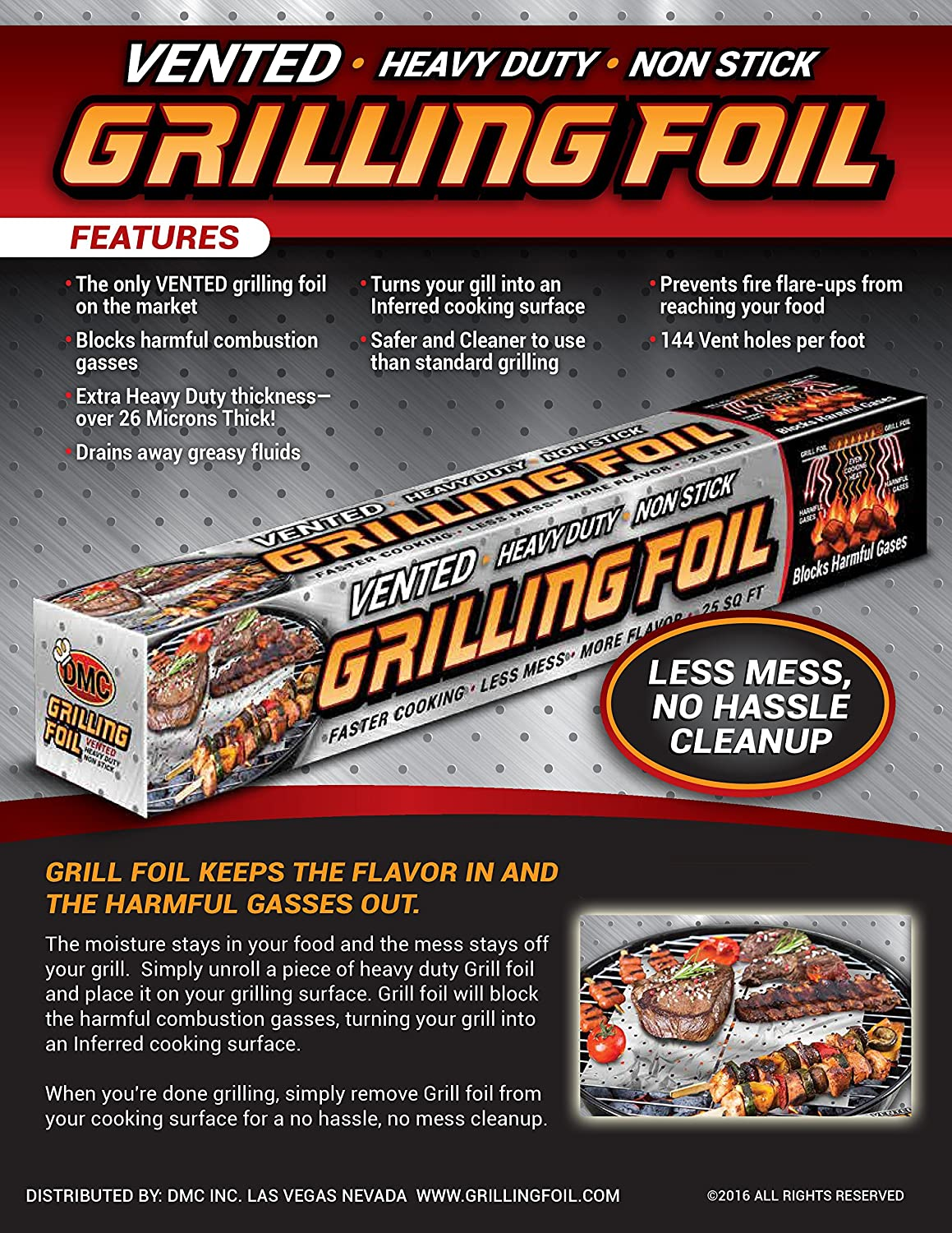 Amazon : Bbq Grilling Accessories Heavy Duty Vented Holes Non Stick  Aluminum Grilling Foil 25 Sqft : Patio, Lawn & Garden