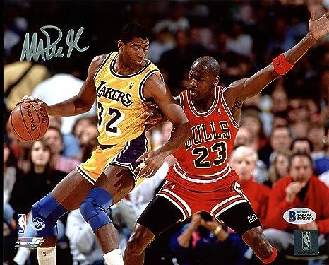 73e59fe2171 Lakers Magic Johnson Signed 8X10 Photo w/Michael Jordan BAS ...