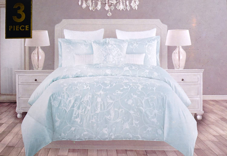 Tahari寝具3 Pieceフル/クイーン布団カバーセットソリッドライトグリーン刺繍入りホワイトスレッドスクロールパターン B071NZSR7Y