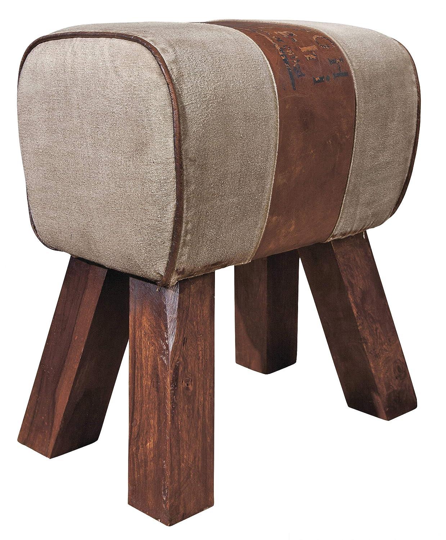 H24living Sitzhocker Vintage Hocker für Ihr Wohnzimmer Schlafzimmer Flur Baumwolle und Leder mit Beschriftung Unikat Unterteil aus Massivholz