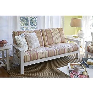 handy living virginia pink stripe x design sofa with exposed wood frame - Exposed Wood Frame Sofa