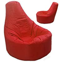 Large Bean Bag Gamer Recliner Outdoor And Indoor Adult Gaming XXL Red - Beanbag Seat Chair (Water And Weather Resistant)