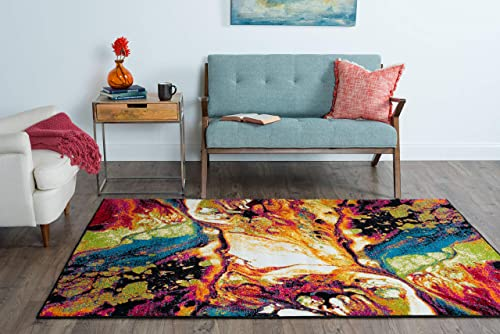 Soleil Contemporary Abstract Multi-Color Rectangle Area Rug, 8 x 10
