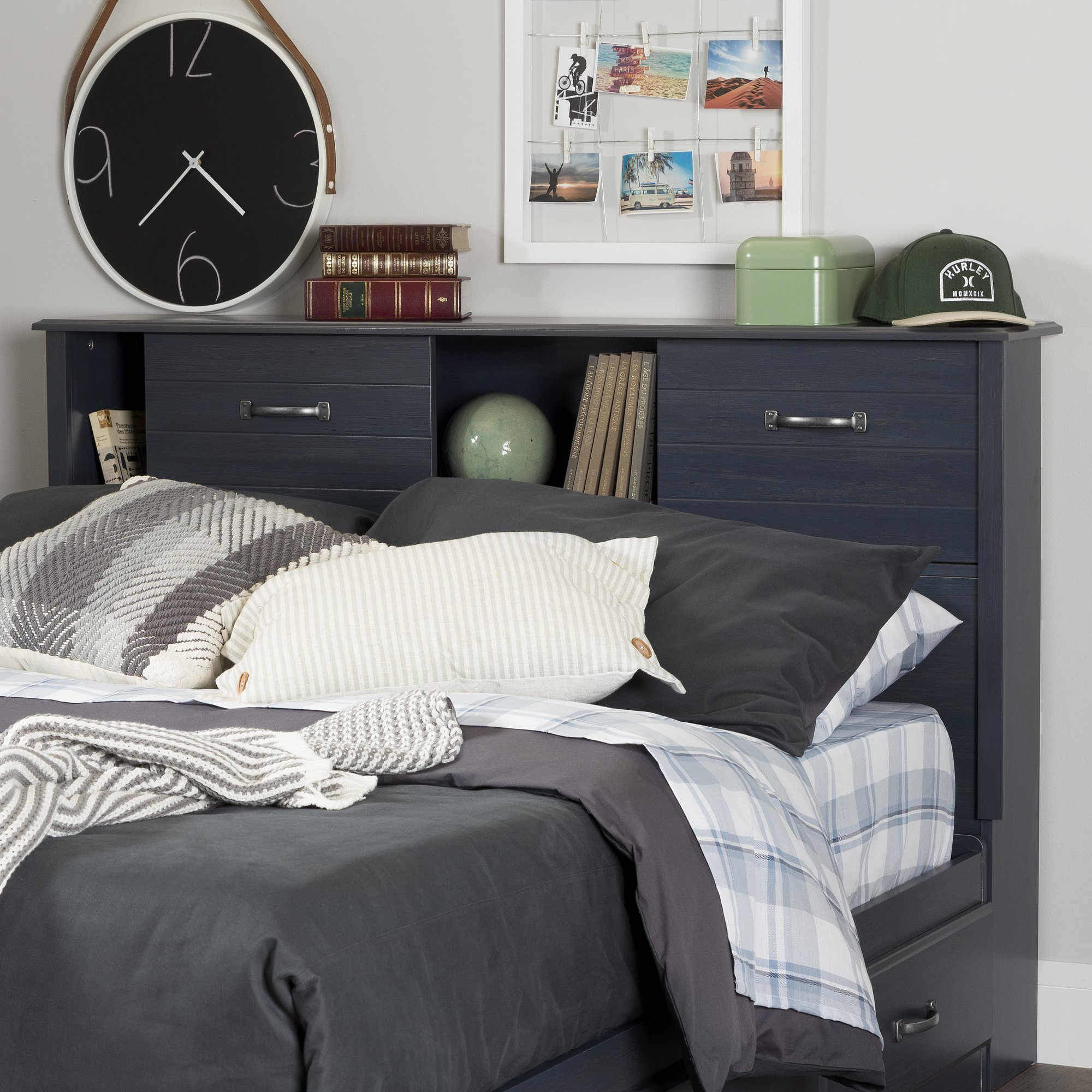 South Shore Ulysses 54'' Bookcase Headboard with Sliding Doors, Full, Blueberry
