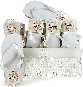 WeddingTree Chanclas para Mujer de Color Blanco - Ideales para Bodas, Invitados y Fiestas - 20 Pares 4XS 12xM 4XL - Cesta de Mimbre Blanca con Interior de algodón