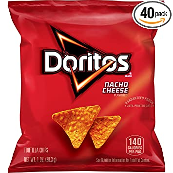Doritos Nacho Cheese Flavored Tortilla Chips, 1 Ounce (Pack of 40)