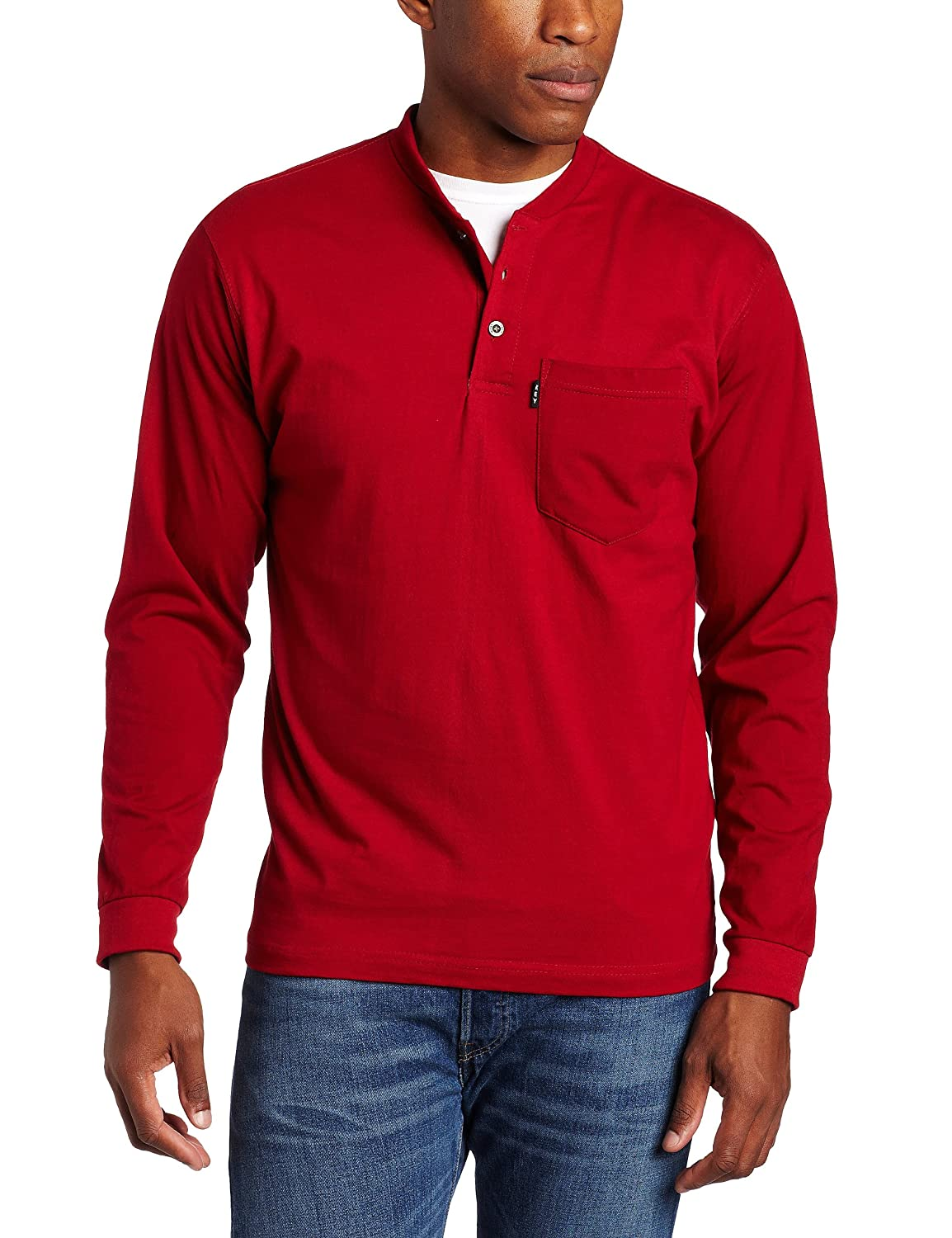 Key Apparel mens Long Sleeve Heavyweight 3-button Pocket Henley 865BT