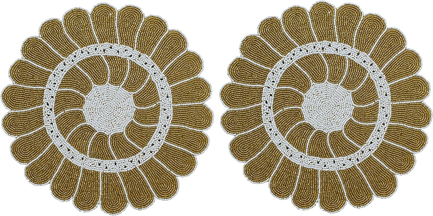 Beaded Placemat Set Of 2 Sunflower Design Round Hand Beaded Charger Placemat Gold White 13 Inch Round Hand Made By Skilled Artisans A Beautiful Complement To Your Dinner Table Décor Home Kitchen Amazon Com