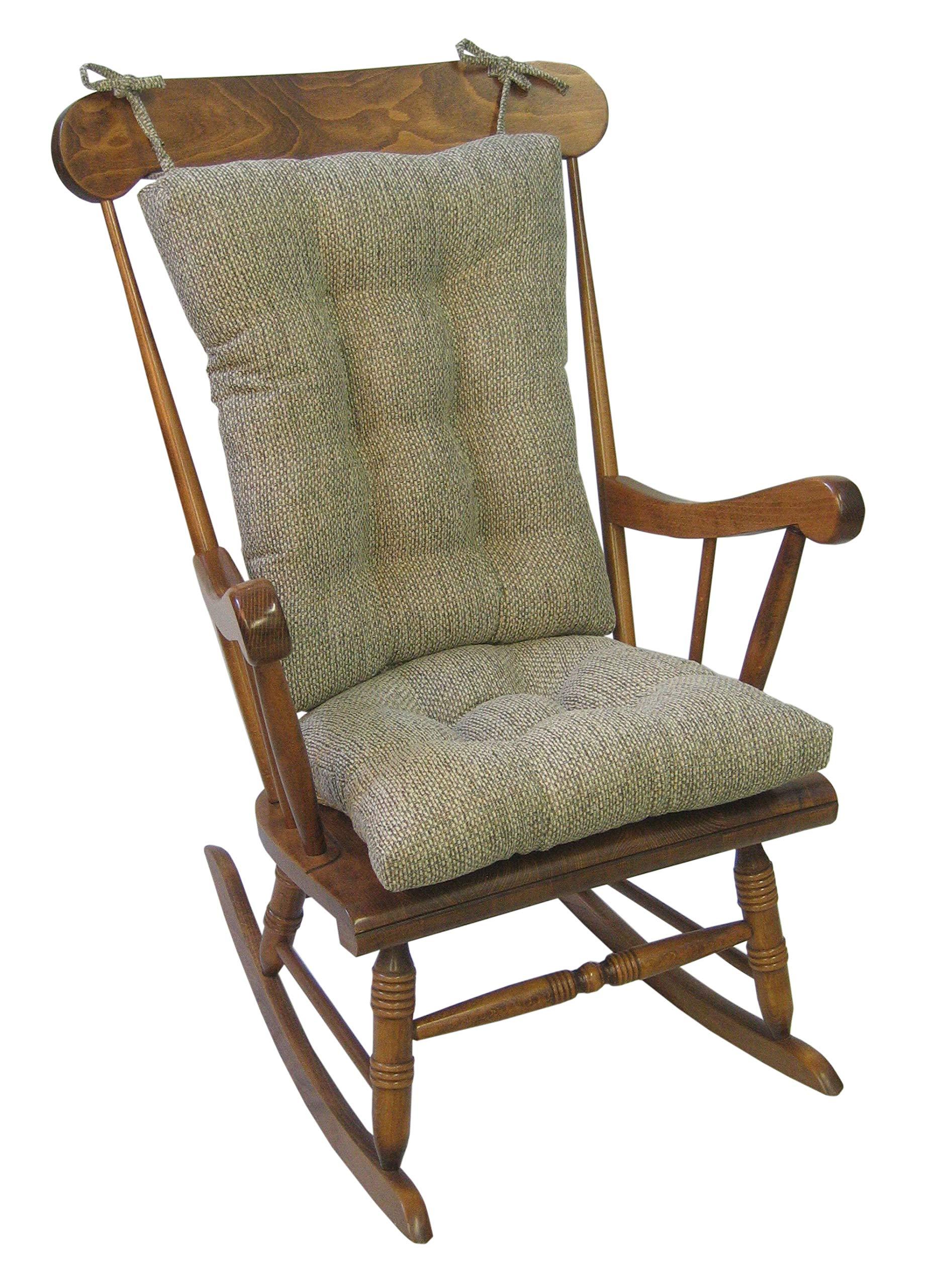 Klear Vu Tyson XL Gripper Non-Slip Extra Large Overstuffed Rocking Chair Pad Set, 17'' x 17'', Natural