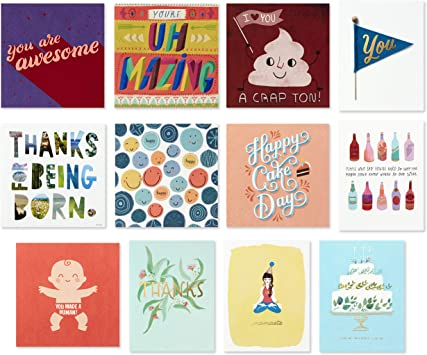 Amazon Com Hallmark Good Mail All Occasion Boxed Greeting Cards Assortment Pack Of 12 Birthday Cards Baby Shower Cards Wedding Cards Friendship Cards Thank You Cards Office Products