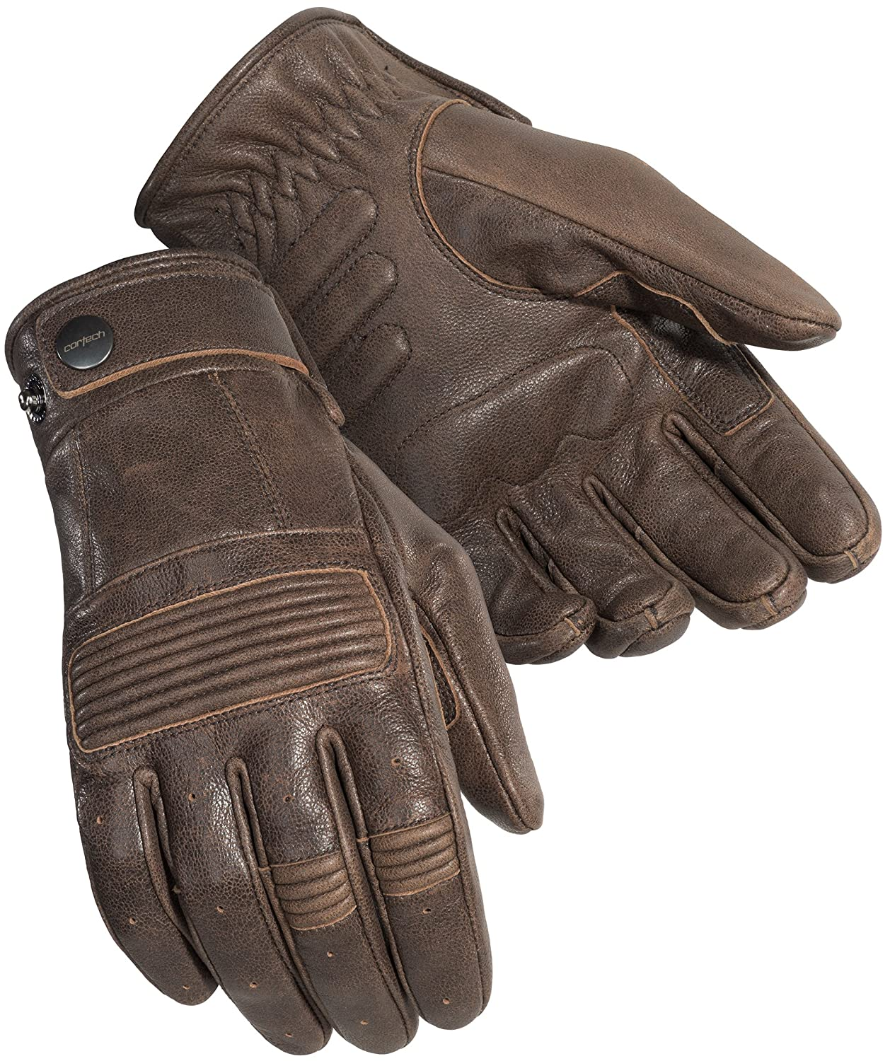 Brown, X-Large Cortech Mens Duster Leather Motorcycle Gloves