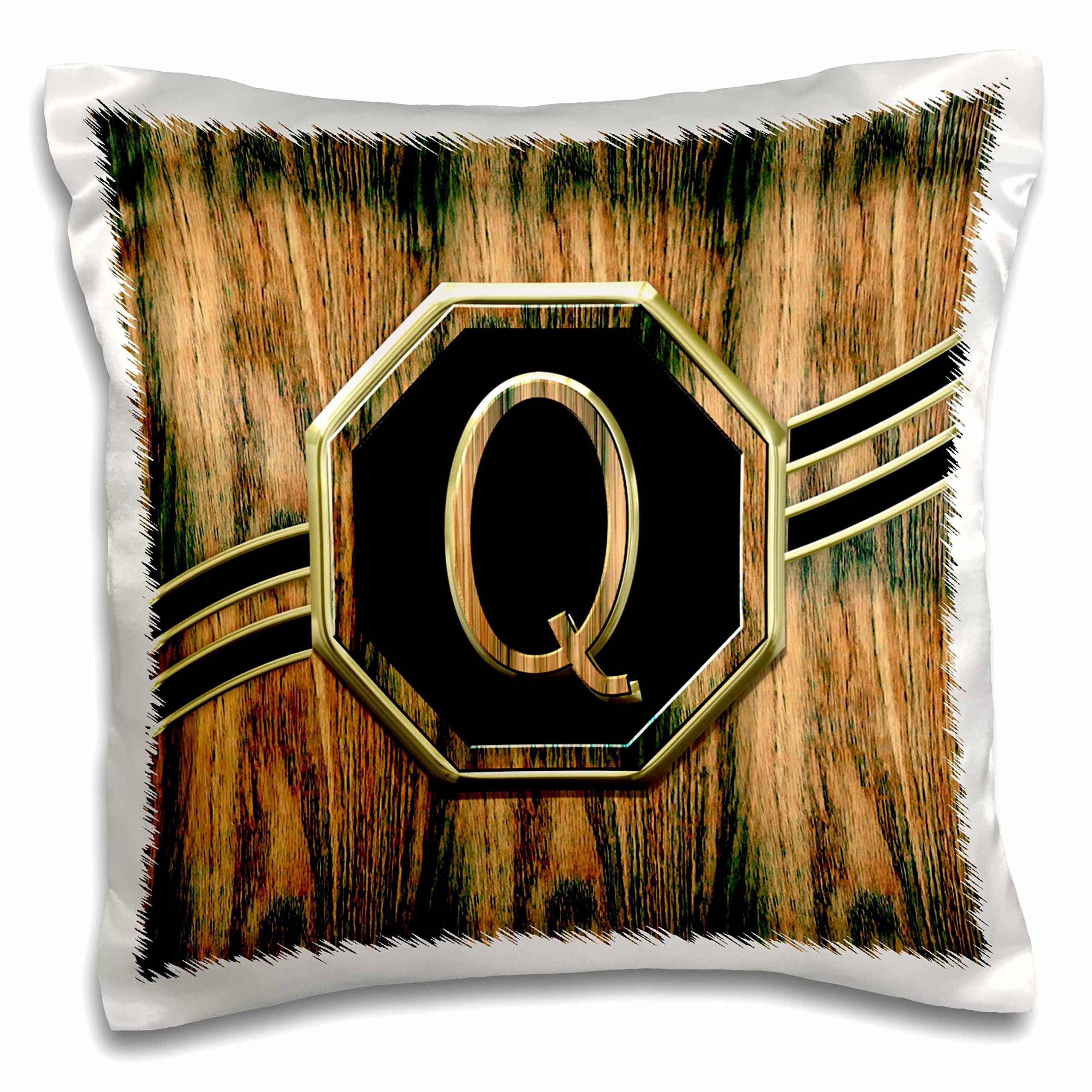 3D Rose Elegant Faux Gold and Wood Grain Monogram Letter Q Pillow Case, 16'' x 16''