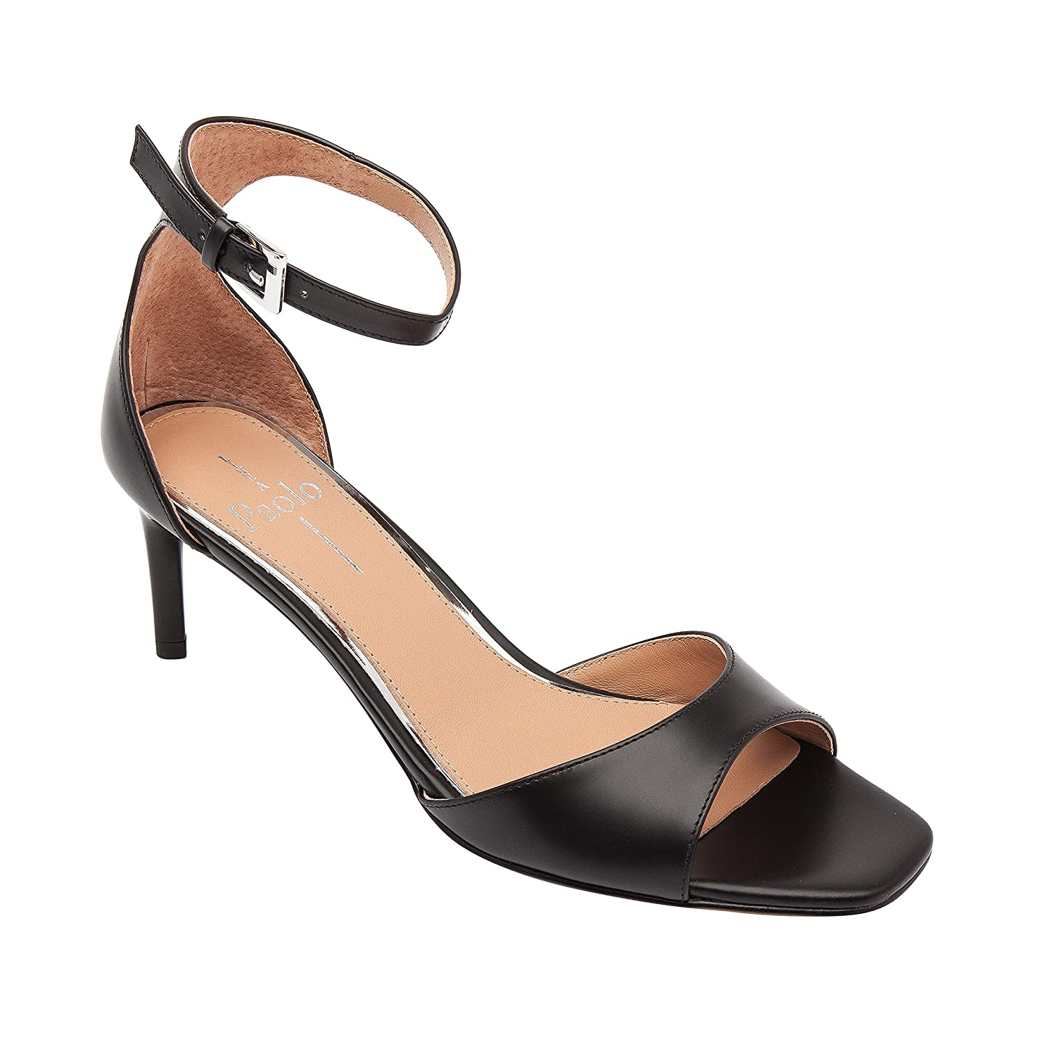 Linea Paolo Helen | Women's Mid-Height Leather Ankle Strap Sandal B07958D1WQ 7.5 M US|Black Leather