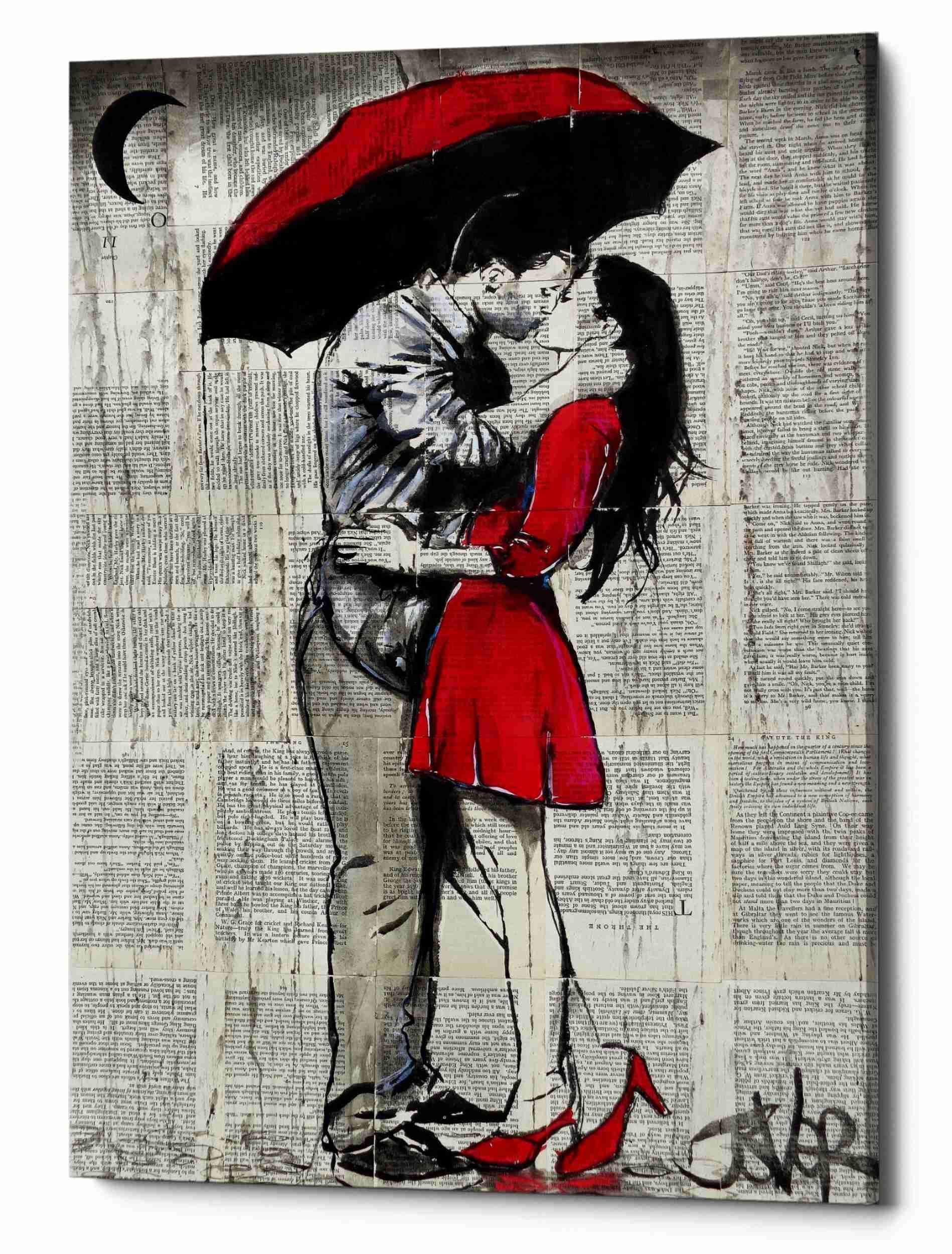 Epic Graffiti Red Rainy Love by Louie JOVE Gisele Canvas Wall Art 26''x40'' Black by Epic Graffiti