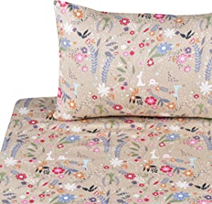 J-pinno Rabbit Flowers Glass Twin Sheet Set for Kids Boys Girls Children,100% Cotton, Flat Sheet + Fitted Sheet + Pillowcase Bedding Set
