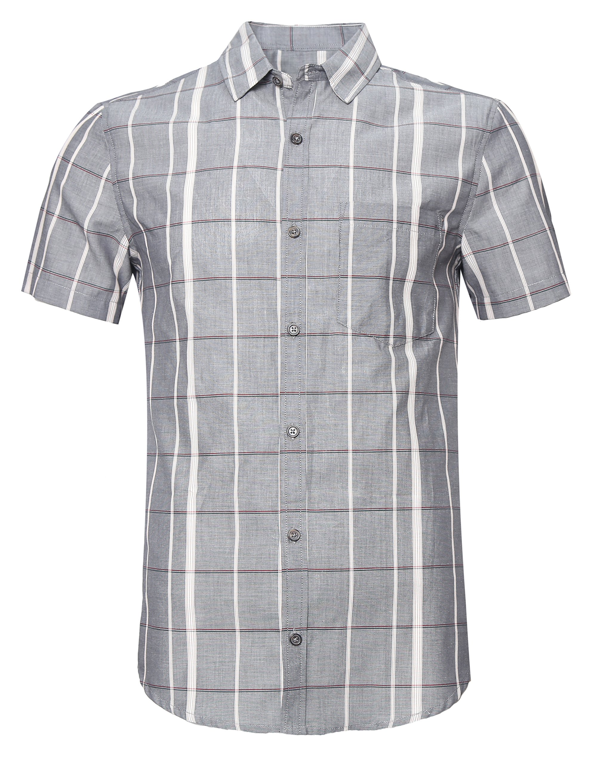 SOOPO Men's Slim-Fit Short Sleeve Plaid Twill Shirt Grey XL